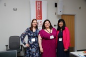 Primary Health Care Research Day Planning Committee members Jessica Nowlan (left) and Tara Sampalli (right) with host Emily Marshall (centre)
